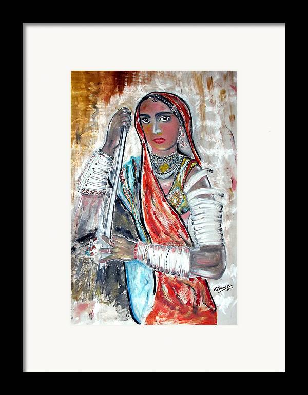 Woman Framed Print featuring the painting Rajasthani Woman by Narayanan Ramachandran