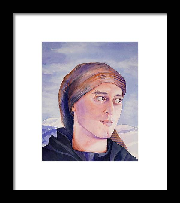 Man In Ski Cap Framed Print featuring the painting Ram by Judy Swerlick