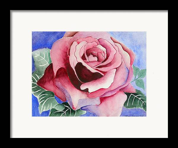 Pink Rose Framed Print featuring the painting Ramblin' Rose by Mary Gaines