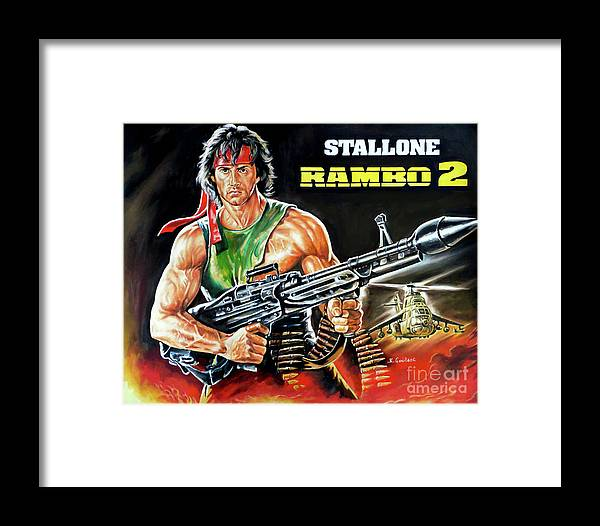 Stallone Framed Print featuring the painting Rambo 2 Sylvester Stallone Paintinf by Kostas Soutsos