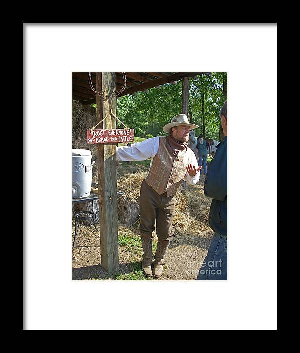 Dude Framed Print featuring the photograph Ranch Owner by Beebe Barksdale-Bruner