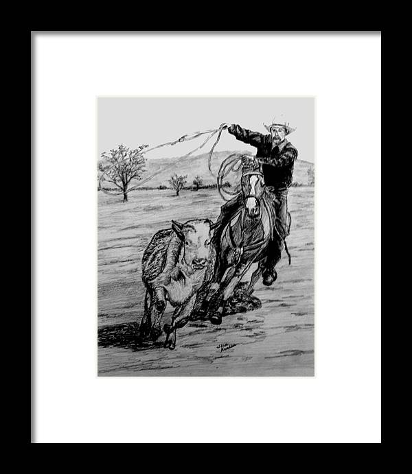 Pencil Framed Print featuring the drawing Ranch Work by Stan Hamilton