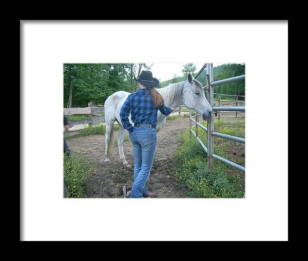 Blue Framed Print featuring the photograph Ranchhand With Horsey by Beebe Barksdale-Bruner
