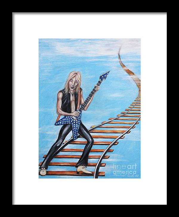 Portrait Framed Print featuring the drawing Randy Rhoads On The Tracks Of The Crazy Train by Michael Cook