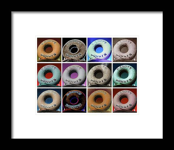 Randy's Donuts Framed Print featuring the photograph Randy's Donuts - Dozen Assorted by Stephen Stookey