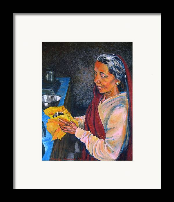 India Framed Print featuring the painting Rani The Cook by Art Nomad Sandra Hansen
