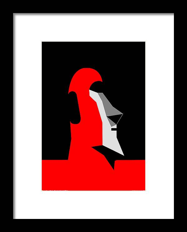 Framed Print featuring the digital art RapaNui Moai by Asbjorn Lonvig