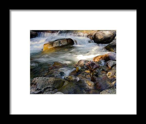 Rapids Framed Print featuring the photograph Rapids And Boulders by Sally Weigand
