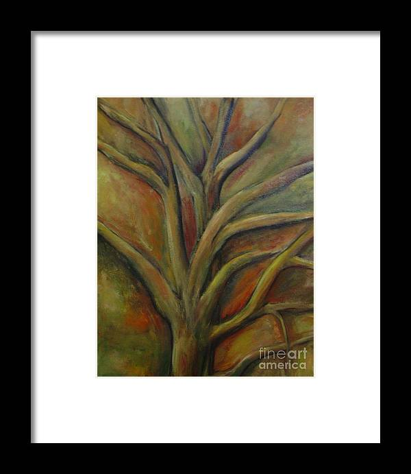 Tree Abstract Painting Expressionist Original Leila Atkinson Framed Print featuring the painting Rapt by Leila Atkinson