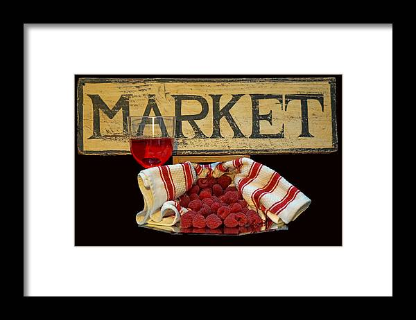 Raspberries Framed Print featuring the photograph Raspberries At The Market by Pamela Walton