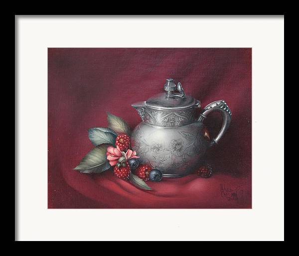 Still Life Framed Print featuring the painting Raspberries by Michelle Kerr