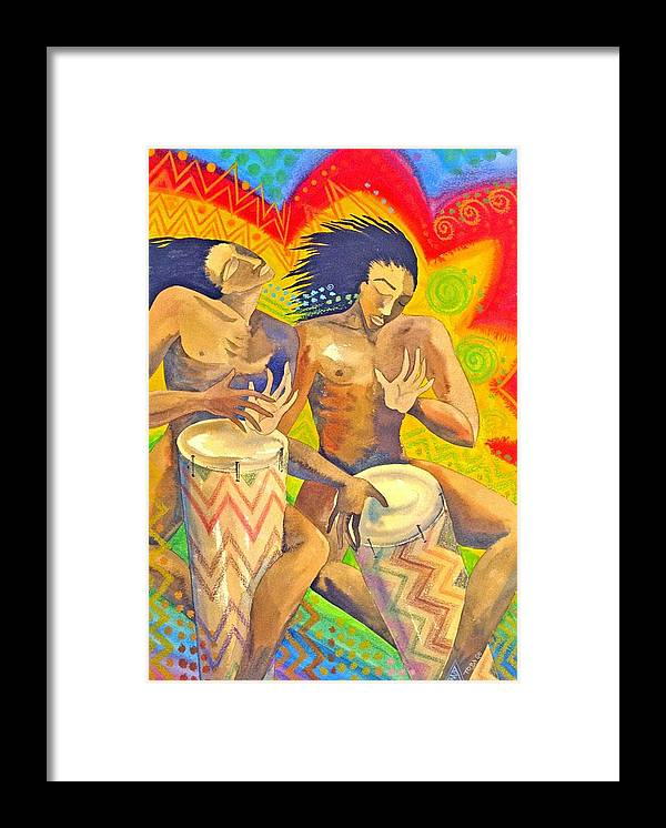 Drumming Caribbean Rythm Vibrance Colourful Rasta Framed Print featuring the painting Rasta Rythm by Jennifer Baird