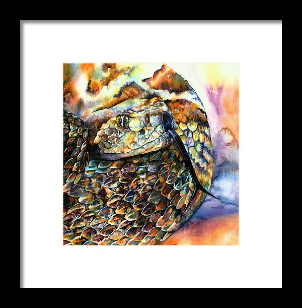 Southwest Framed Print featuring the painting Rattle Snake by Christy Freeman