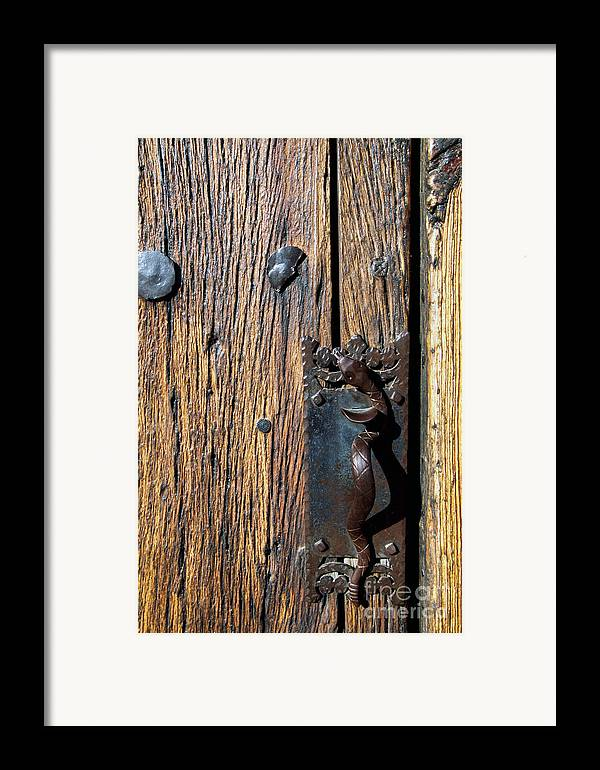 Mission San Xavier Del Bac Framed Print featuring the photograph Rattlesnake Door Handle Mission San Xavier Del Bac by Thomas R Fletcher