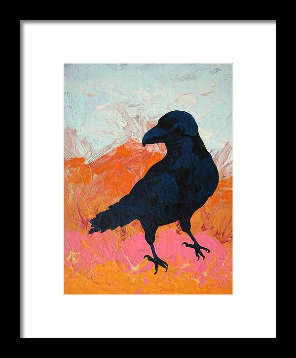 Raven Framed Print featuring the painting Raven I by Dodd Holsapple