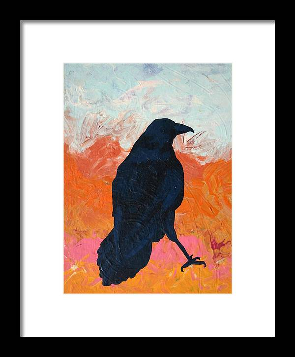 Raven Framed Print featuring the painting Raven II by Dodd Holsapple
