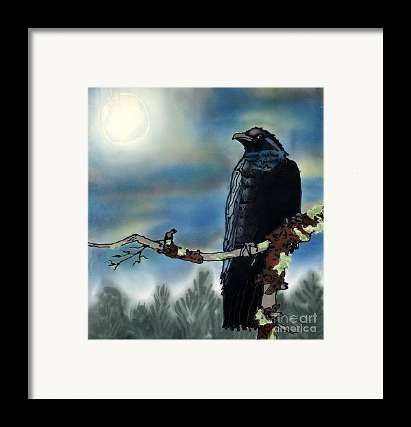 Silk Framed Print featuring the painting Raven Moon by Linda Marcille