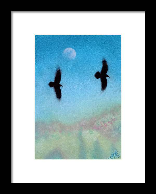 Raven Framed Print featuring the painting Raven Pair with Diurnal Moon by Robin Street-Morris