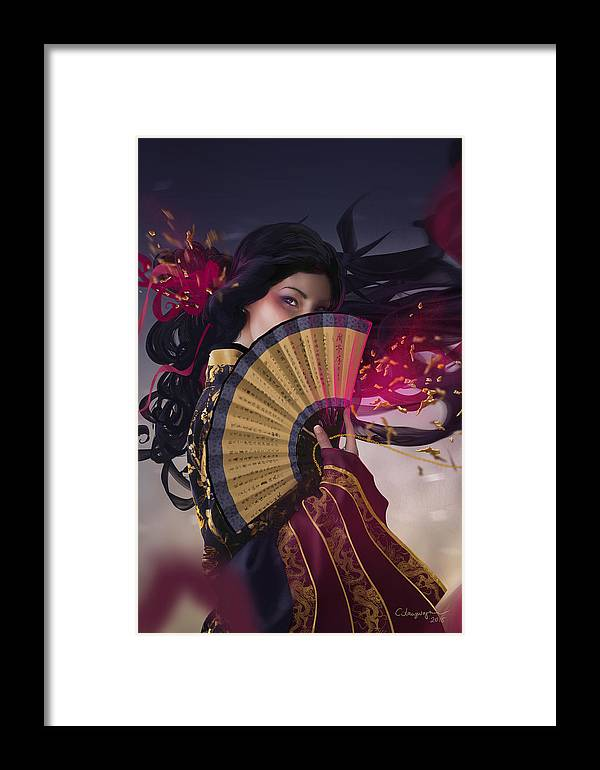 Fantasy Framed Print featuring the digital art Raven - Portrait by Cassiopeia Art