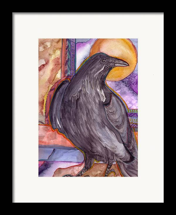 Wildlife Framed Print featuring the painting Raven Steals Sunlight by K Hoover