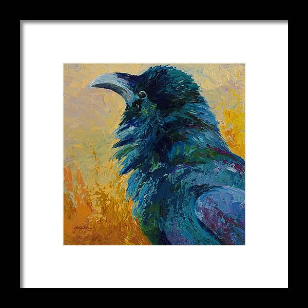 Crows Framed Print featuring the painting Raven Study by Marion Rose