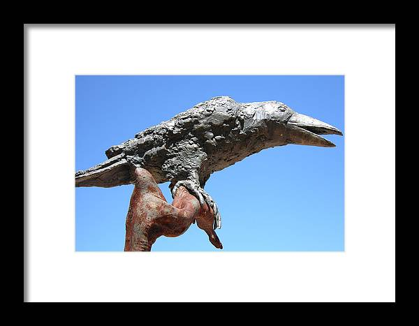 Raven Framed Print featuring the sculpture Raven by Thor Sigstedt