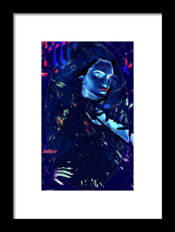 A Bizarre Evil Witch Flies With The Ravens Framed Print featuring the digital art Raven Woman by Seth Weaver