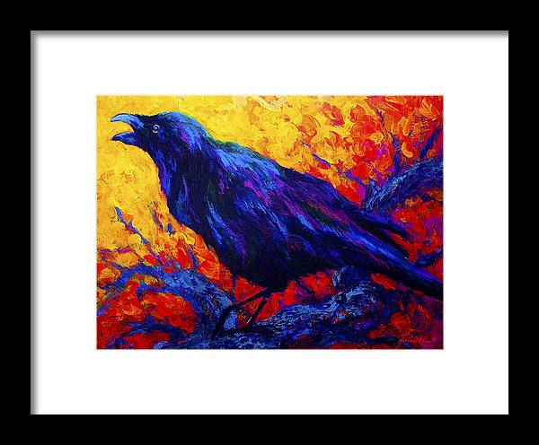 Crows Framed Print featuring the painting Raven's Echo by Marion Rose