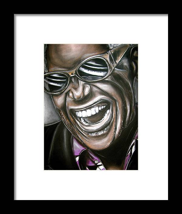 Ray Framed Print featuring the drawing Ray Charles by Zach Zwagil