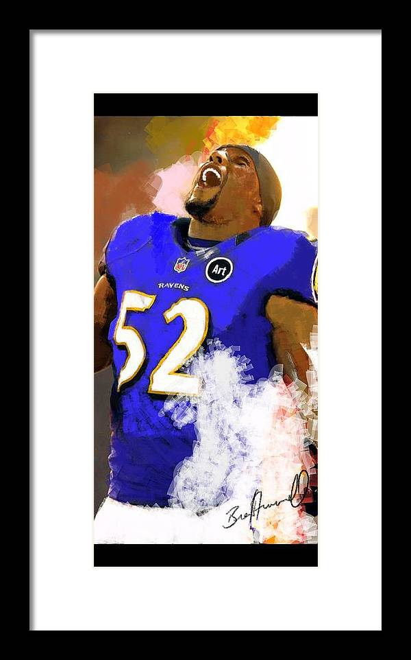 Ray Lewis Framed Print featuring the digital art Ray Lewis by Brent Trammell