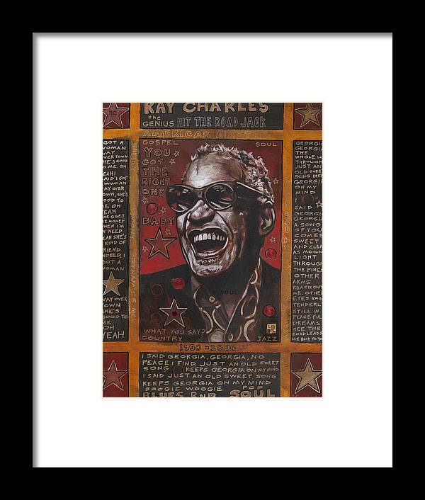 Ray Charles Framed Print featuring the painting Ray by Ray Stephenson