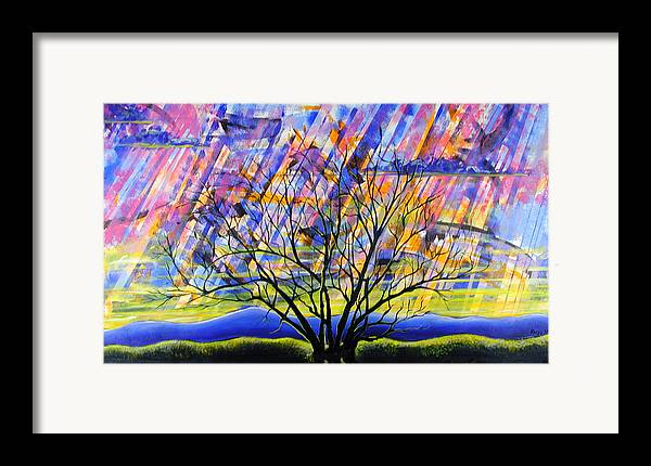 Sunset Framed Print featuring the painting Rays Of Life by Rollin Kocsis