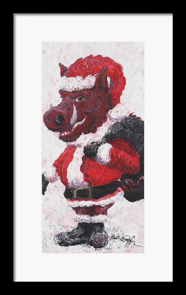 Santa Framed Print featuring the painting Razorback Santa by Nadine Rippelmeyer