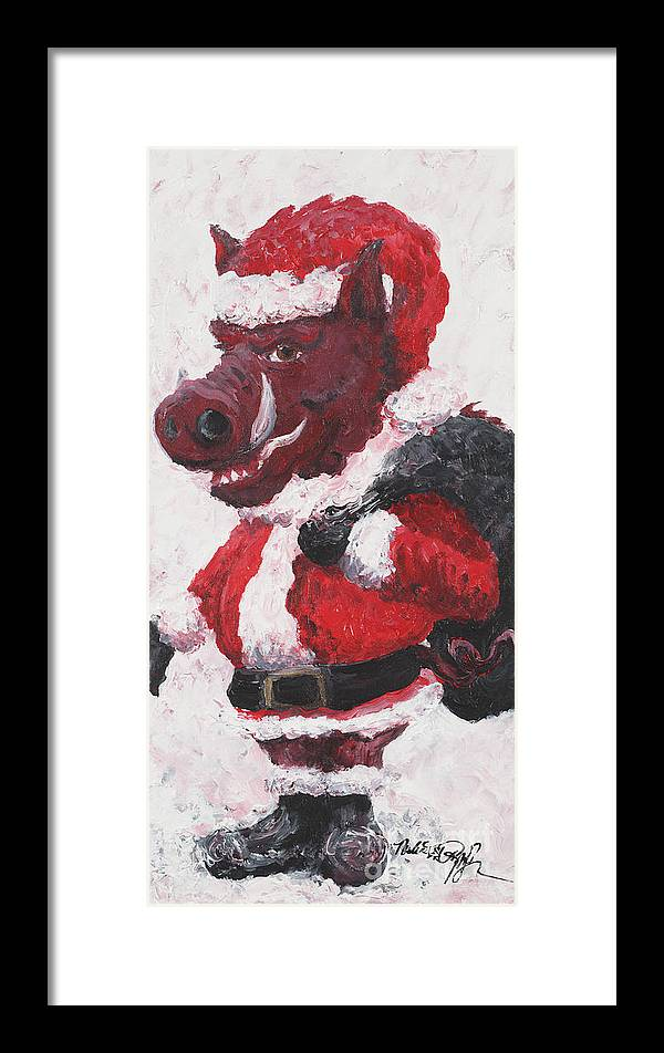 Santa Framed Print featuring the painting Razorback Santa by Nadine Rippelmeyer