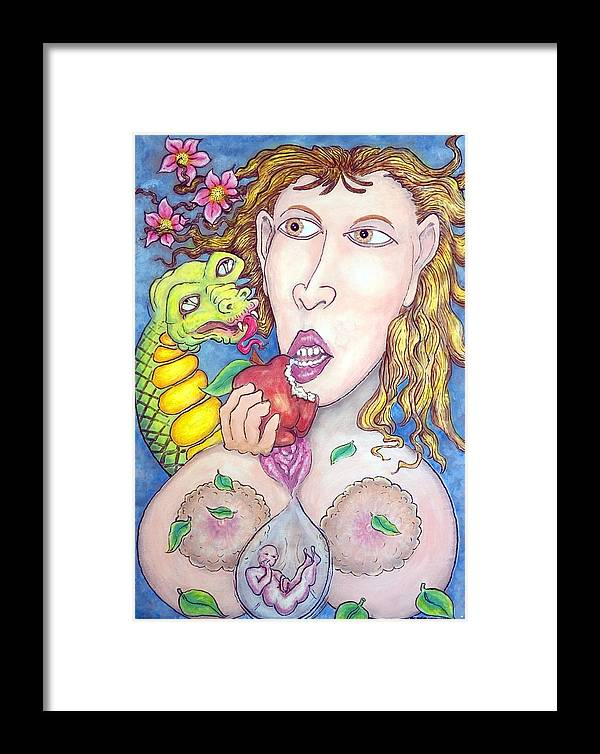 Eve Framed Print featuring the painting Re Cun Ten U by Eddie Sargent