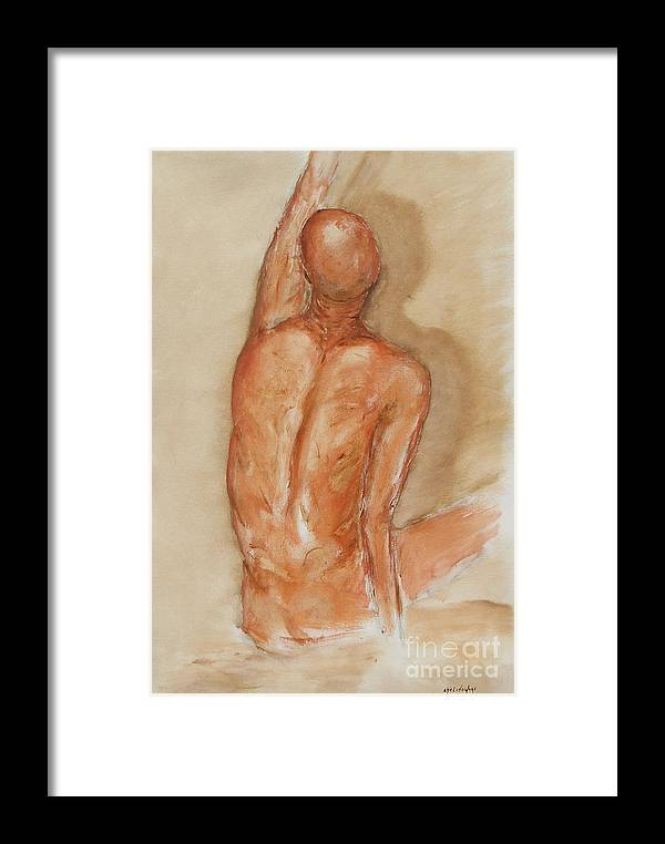 Figure Framed Print featuring the painting Reach Higher by Miroslaw Chelchowski
