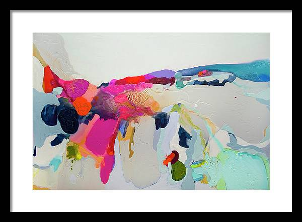 Abstract Framed Print featuring the painting Reach In Reach Out by Claire Desjardins
