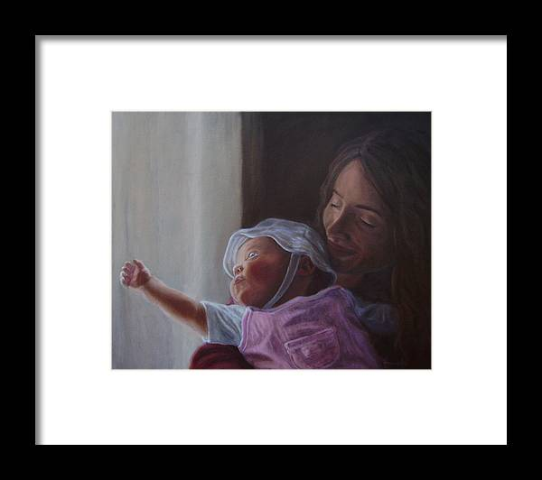 People Framed Print featuring the painting Reaching For The Light by Tahirih Goffic