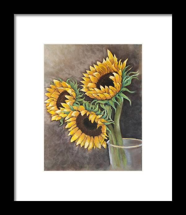 Still Life Framed Print featuring the painting Reaching Sunflowers by Susan Jenkins