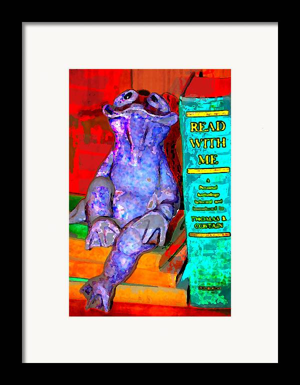 Framed Print featuring the digital art Read With Me Frog by Danielle Stephenson