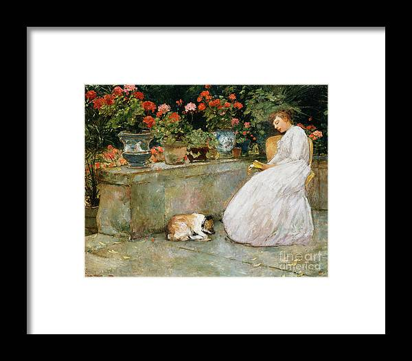 Childe Hassam Framed Print featuring the painting Reading, 1888 by Childe Hassam