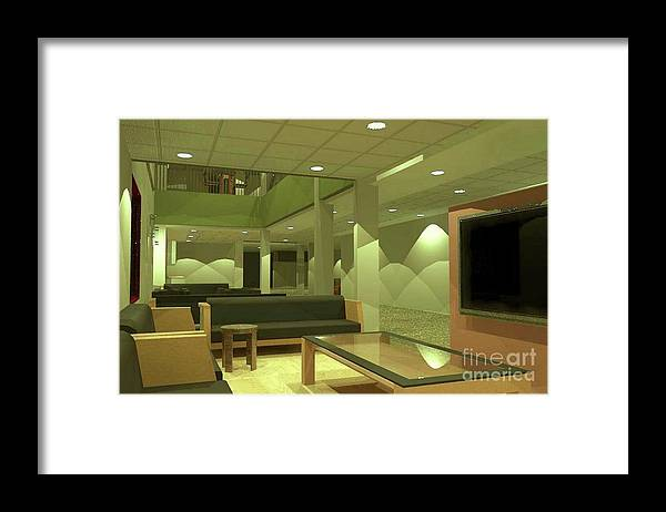 Rendering Framed Print featuring the digital art Reading Area by Ron Bissett