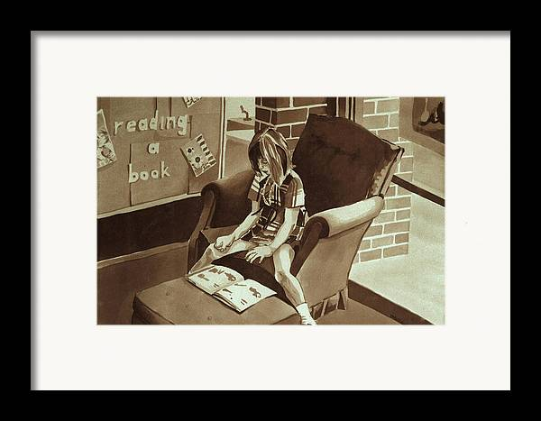 Girl Reading Book Framed Print featuring the painting Reading Corner by Judy Swerlick