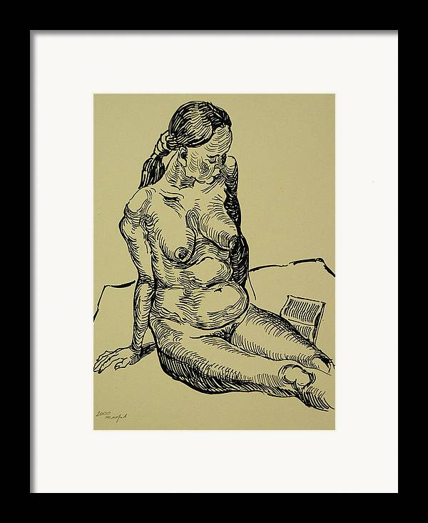 Woman Framed Print featuring the drawing Reading Naked Woman by Vitali Komarov