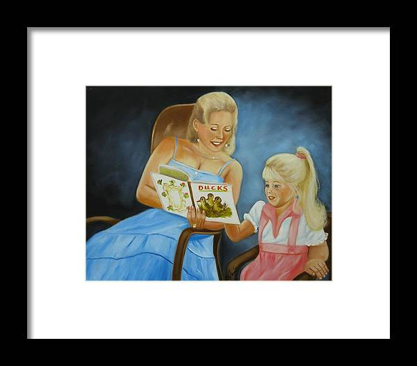 Portraits Framed Print featuring the painting Reading With Gramma by Joni McPherson
