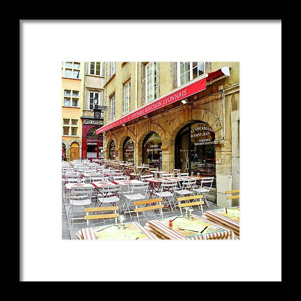 Street Cafe Framed Print featuring the photograph Ready for Lunch in Lyon by Kirsten Giving