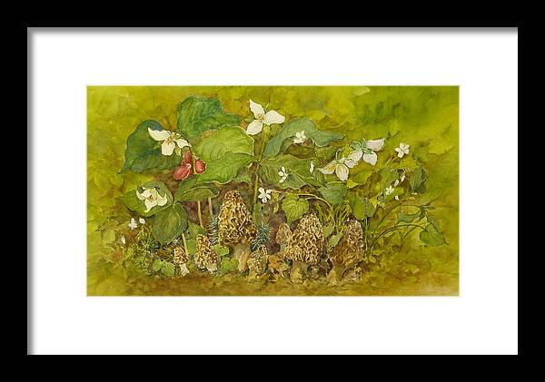 Mushrooms;trillium;spring;violets;woods;woodland;morels;watercolor Painting; Framed Print featuring the painting Ready For Pickin' by Lois Mountz
