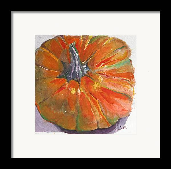 Pumpkin Framed Print featuring the painting Ready For Pie  by Jan Bennicoff