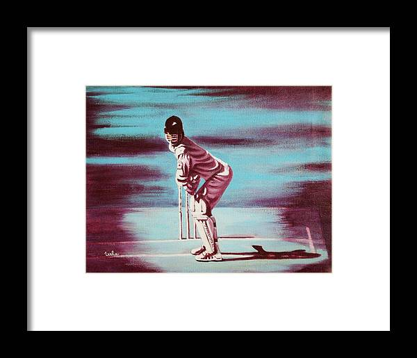 Framed Print featuring the painting Ready To Bat by Usha Shantharam