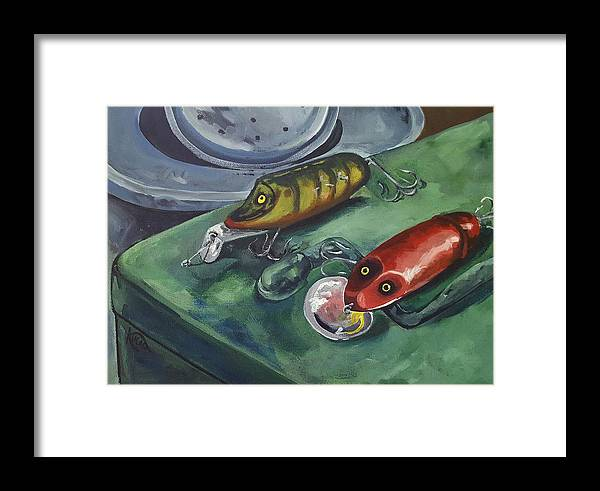 Fishing Framed Print featuring the painting Ready To Fish by Kathy Kucia